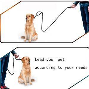 Leather Dog Leash Adjustable 5.4 6.5 ft Reflective Double Handle Dog Leash