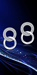 SBLING Platinum-Plated Cubic Zirconia Stud Earrings- Gifts for Women/Girls