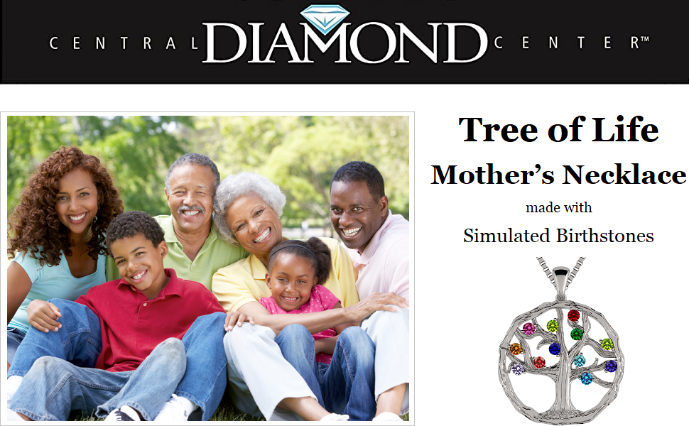 Mothers Tree of Life Birthstone Necklace w/ 1-12 Simulated Birthstones in Silver, 10K, or 14K Gold