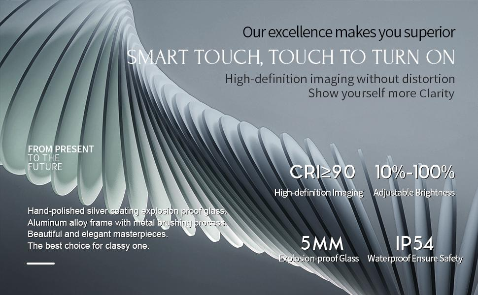 Smart Touch,CRI90,Dimmable,5mm Explsion Proof glass,IP54 Water Proof