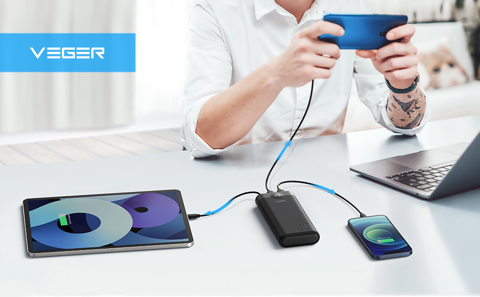 VEGER 30000mAh Charge 3 Devices at the same time