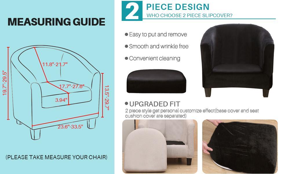 2 piece velvet tub chair