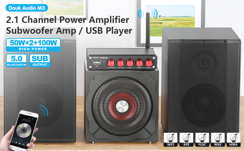 douk audio m3 2.1 bluetooth amplifier