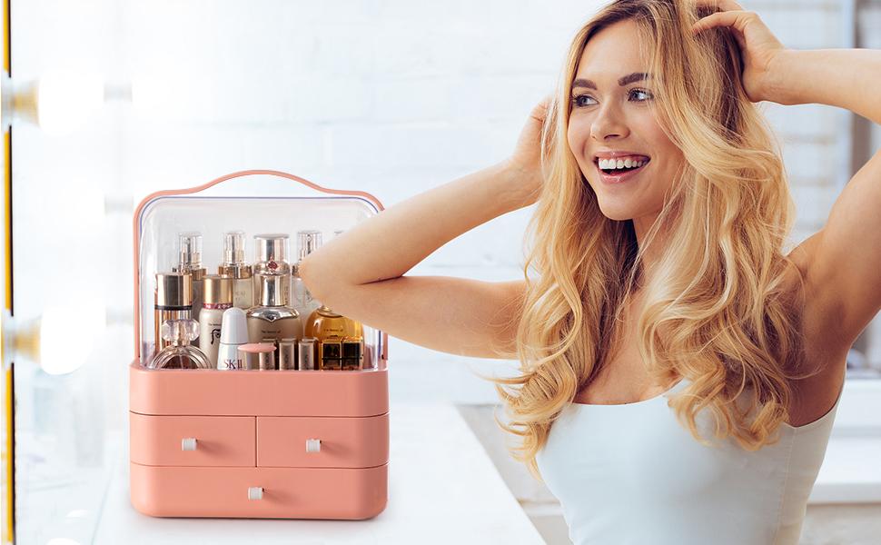pink makeup organiser