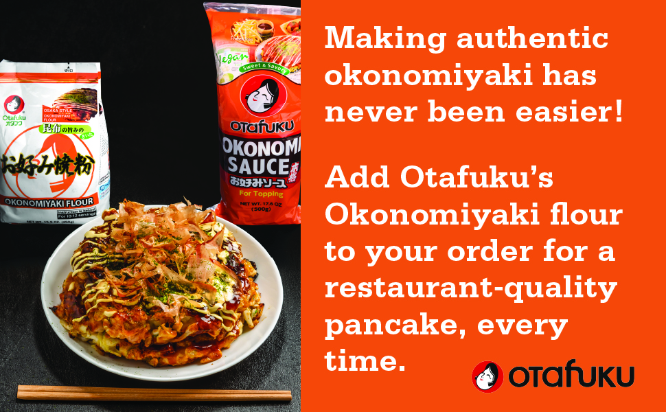 Add Okonomiyaki Flor to your order for a restaurant quality pancake, every time