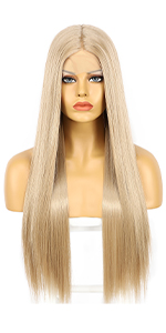 Ash Blonde straight synthetic lace front wigs for women