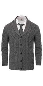mens shawl collar cardigan twsited cable knit aran fisherman sweater with buttons and pockets men