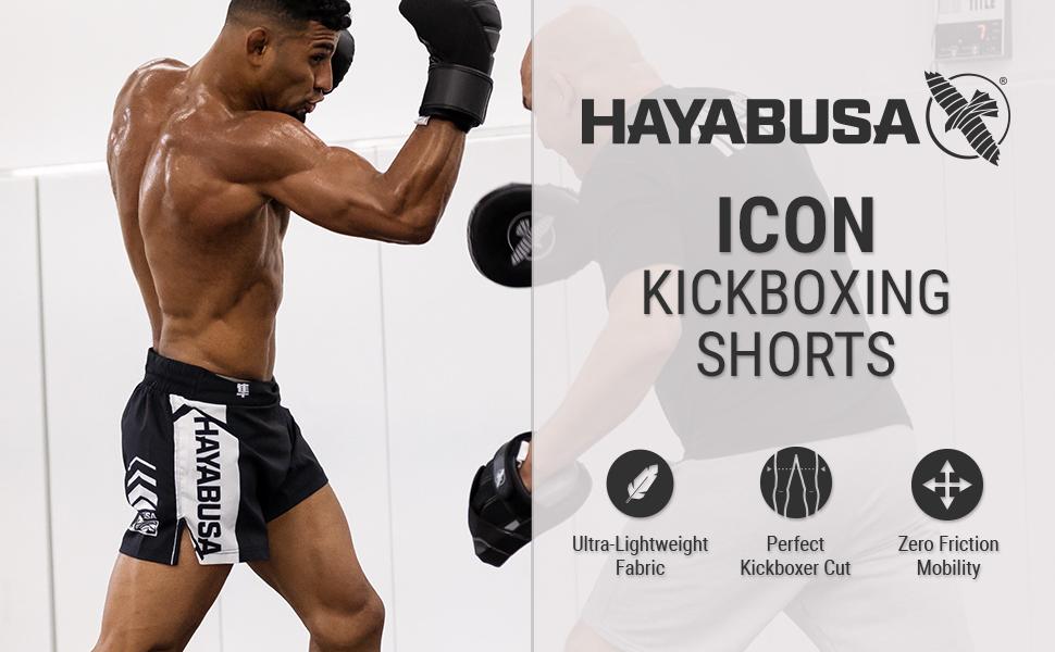 Athlete training in Black and white Hayabusa Icon Kickboxing Shorts