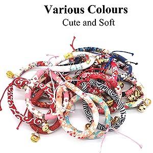 Safe Kitten Collar with Brass Bell, Breakaway Cat Collar Japanese Chirimen Kimono Kitten Collars