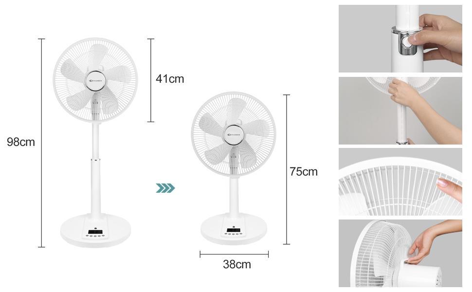 One-Button Lifting, Both Pedestal Fan and Desk Fan