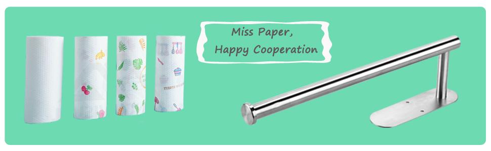 Paper Towel Holder Under Cabinet,Self Adhesive or Drilling Paper Towels Rolls Rack