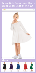 Boyoo Girls Cotton Dress Long Sleeve Swing Skat Twirl Casual Solid Dress for 3-13Y