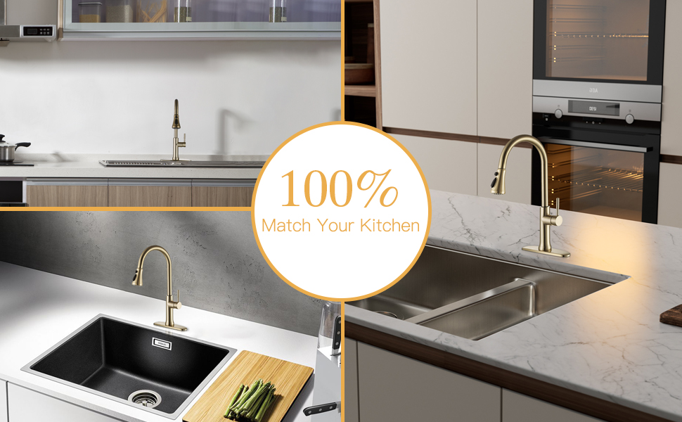 Brushed gold pull down kitchen sink faucet brass
