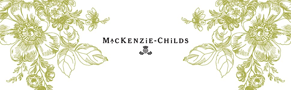The MacKenzie-Childs logo on a white background with a green floral design.