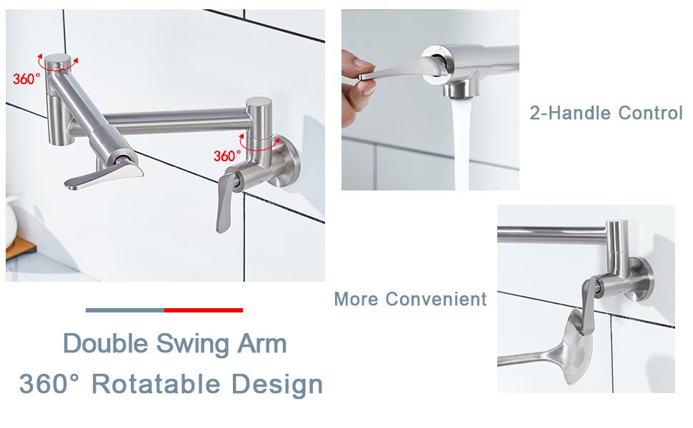 Double Swing Arm 360 Rotatable Design, 2-Handle Control, More Convenient