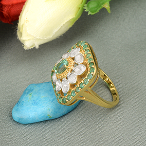 1.38 CTW Natural Emerald Engagement Ring Shiny Diamonds Polki, 925 Sterling Silver 14K Gold Plated