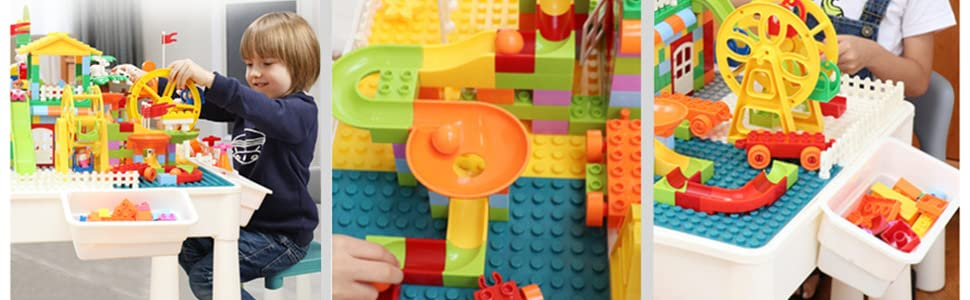 creative toddler building table with blocks