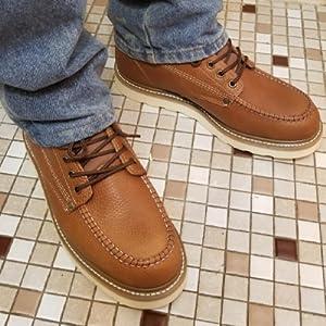 King Rocks Menamp;#39;s Moc Toe Construction Boots Work Shoes
