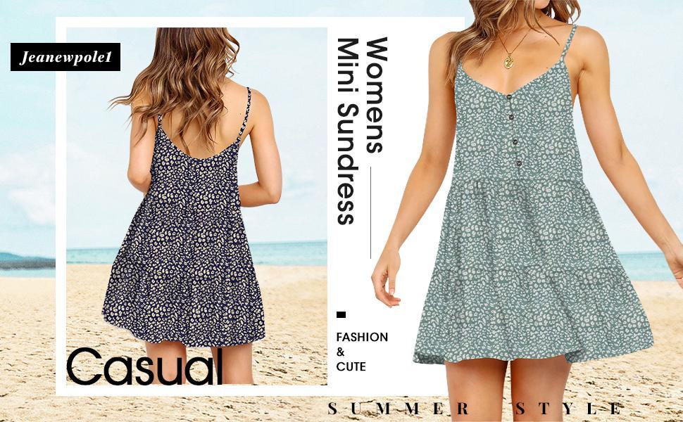 Women's Floral Print Mini Dress Spaghetti Strap Flowy Ruffle Sundress