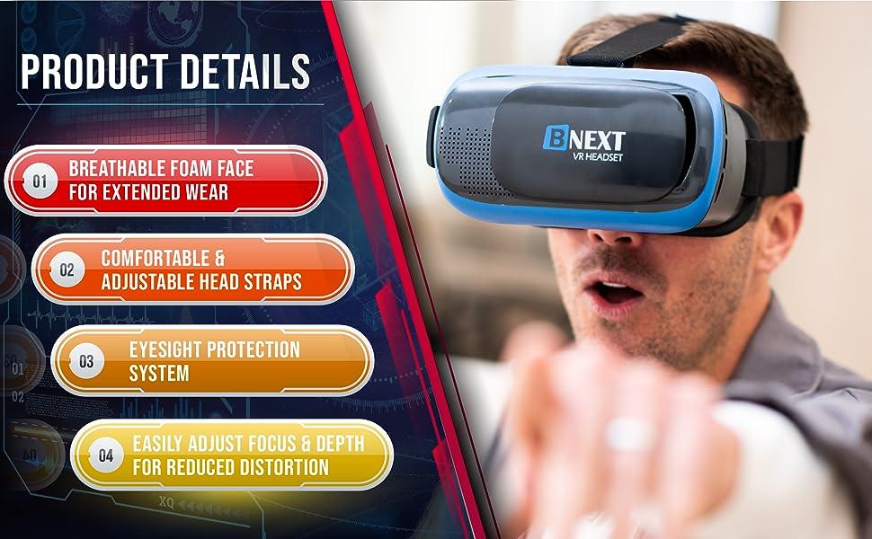 breathable foam face, extended wear, comfortable, adjustable, eyesight protection, adjust focus