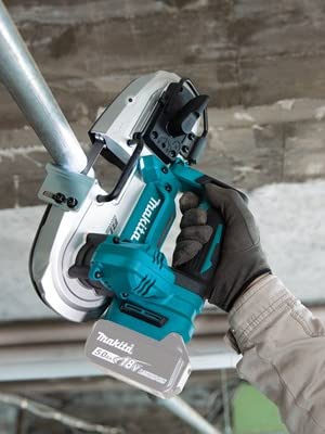 XBP04Z teal compact cordless band saw metal wood cutting multiple materials