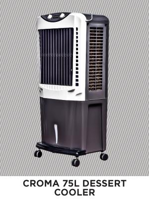 Croma 75 Litres Desert Air Cooler with Honeycomb Pads (CRRC1206, White)