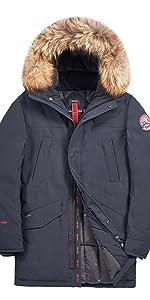TIGER FORCE Mens Parka Coat Waterproof Quilted Jacket Winter Real Fur Outdoor Snowjacket