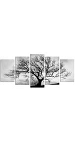 Black and White Tree Canvas Art Home Decor