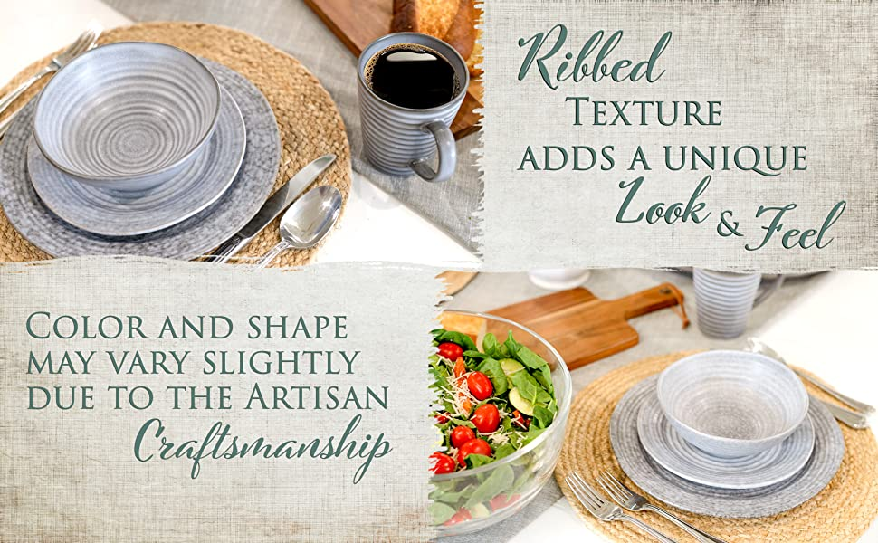 rustic ribbed dish sets with bowls, plates and mugs that give a unique look and feel
