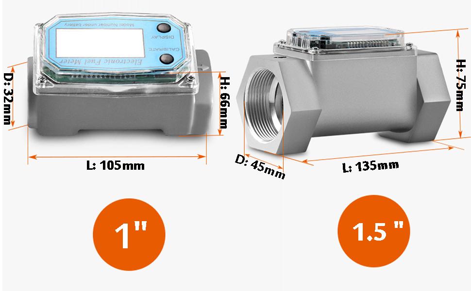 Turbine Flow Meter Electronic 1.5 1 inch 3/4 10-100L/Min Oil Flowmeter Kerosene Gas