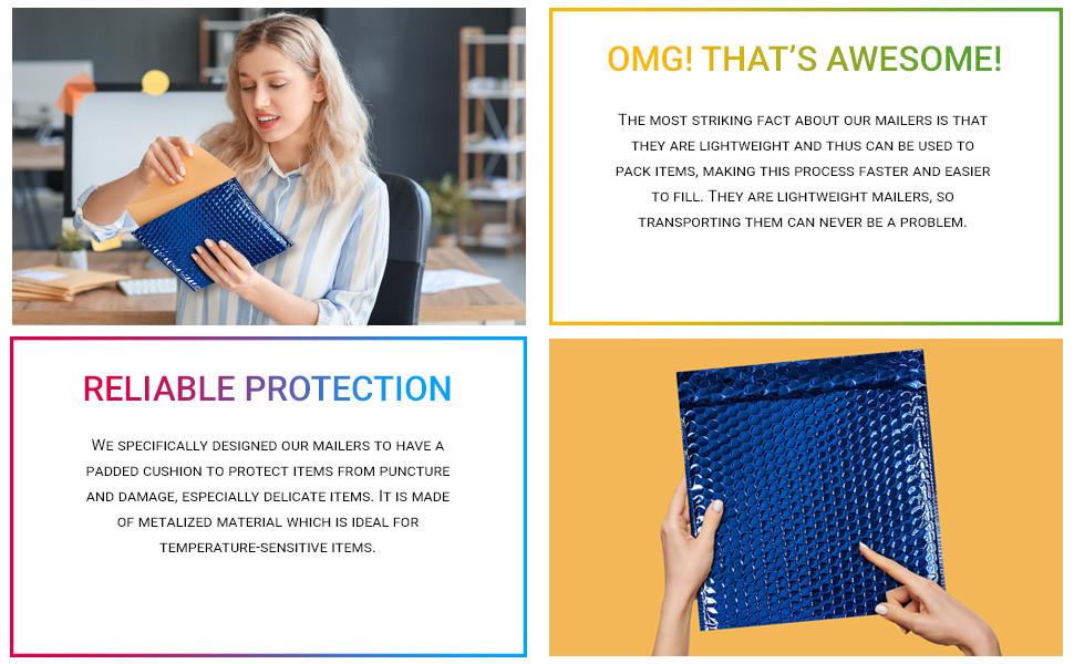 AMZ Blue Metallic Poly Bubble Mailers Hblife Bubble Mailers Bubble Mailer Shipping Bags Holiday AMZ
