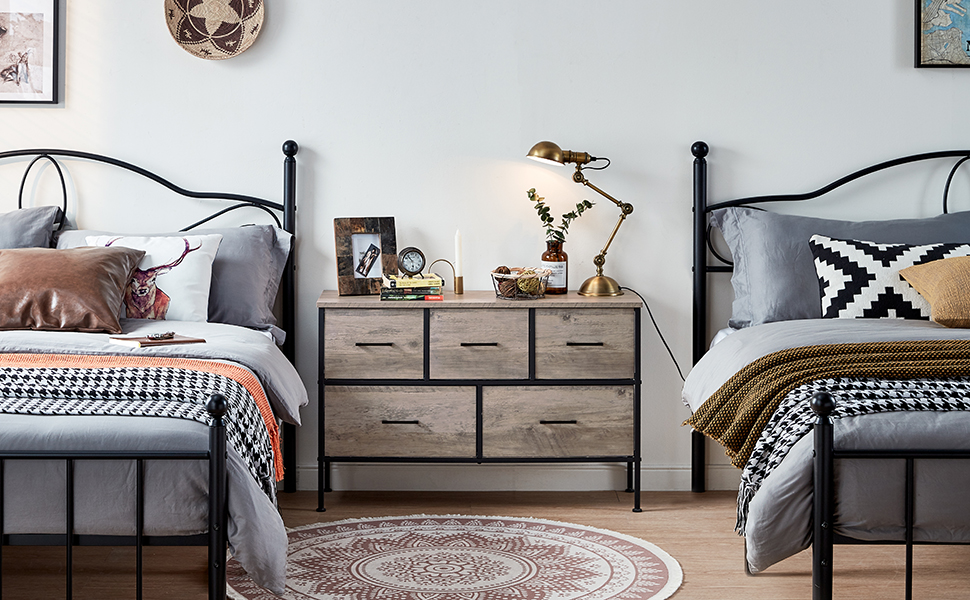 5 Drawer Dresser Nightstand Rustic Towe Living Room  Bedroom Hallway