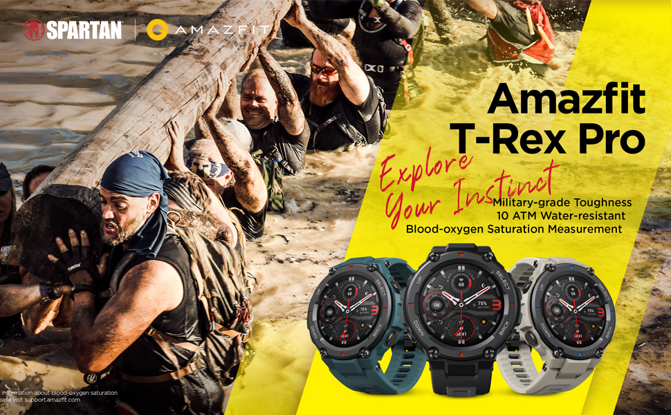 Amazon.com: Amazfit T-Rex Pro Smartwatch Fitness Watch with Built-in GPS, Military Standard Certified, 18 Day Battery Life, SpO2, Heart Rate Monitor, 100+ Sports Modes, 10 ATM Waterproof, Steel Blue