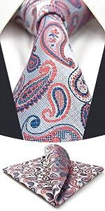 Tie Set for Men Silver Pink Blue