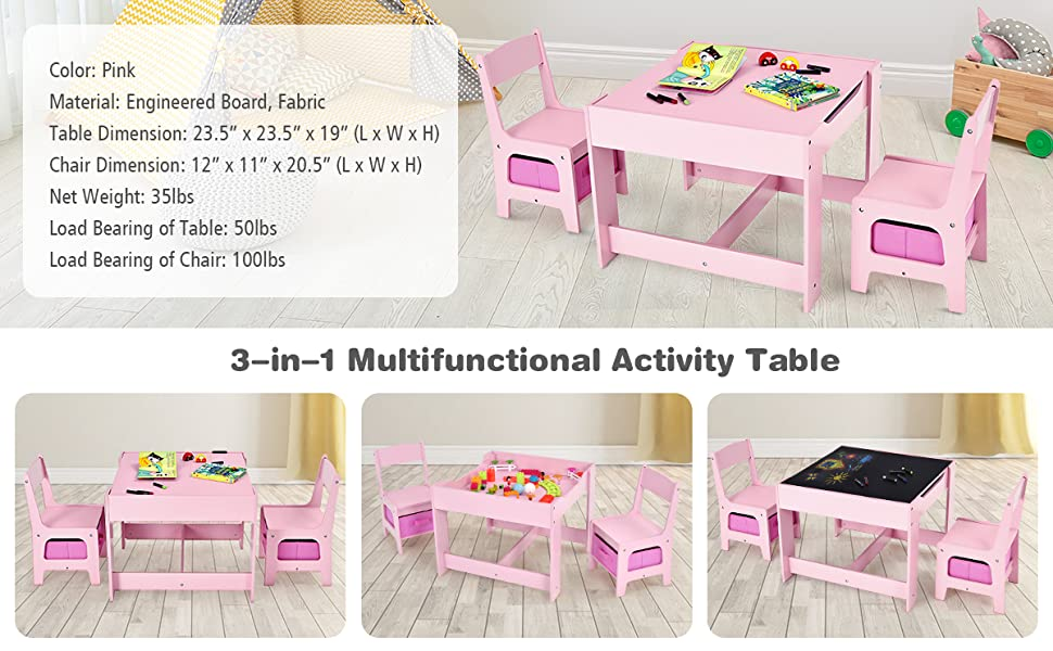 3 in 1 toddler table and chair set with black broad for drawing, painting, reading, schoolwork