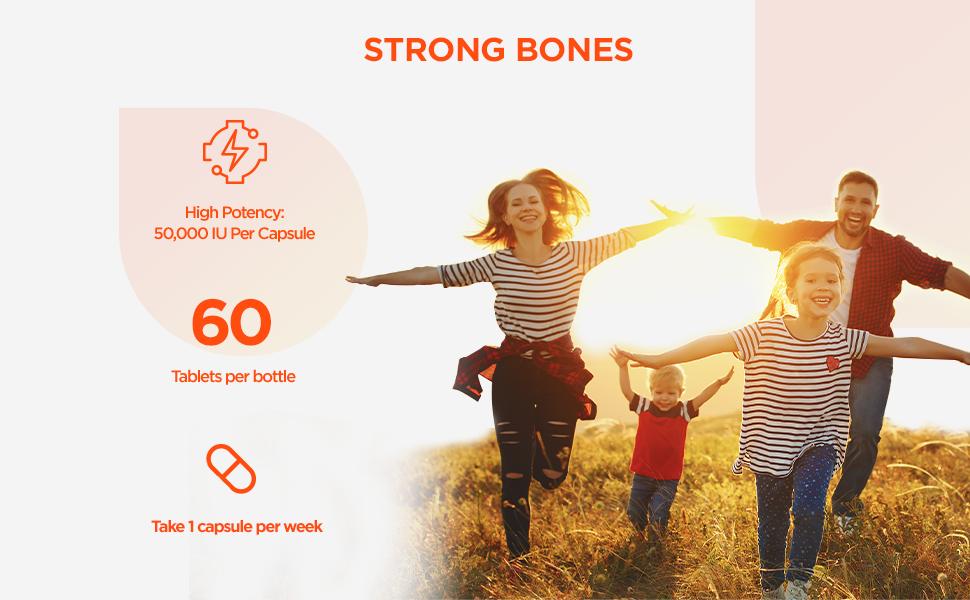 capsules, strong bones, high potency, vitamin deficiency, vitamin d