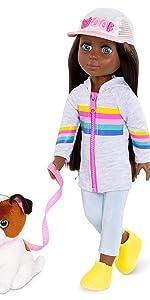 Jana cuddles 14-inch glitter girls doll accessories clothes plush dog shiba inu toy wellie wishers