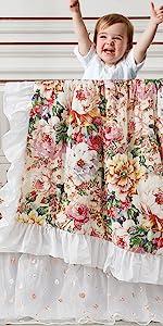 peony floral baby crib bedding set