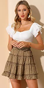 B08TMB5T21 Tiered Mini Skirts