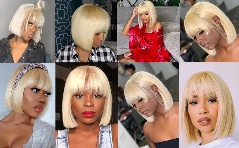 blonde human hair bob wigs