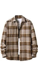 Mens Casual Plaid Button-Down Flannel Overshirt Jacket