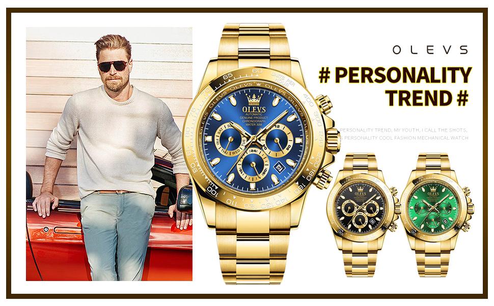 OLEVS Men's Gold Automatic Manual Self-Winding Luxury Dress Edge Bezel Two Tone Wrist Watches