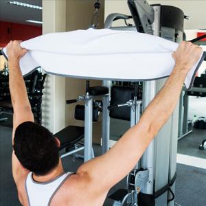 Gym towel lat pulldowns