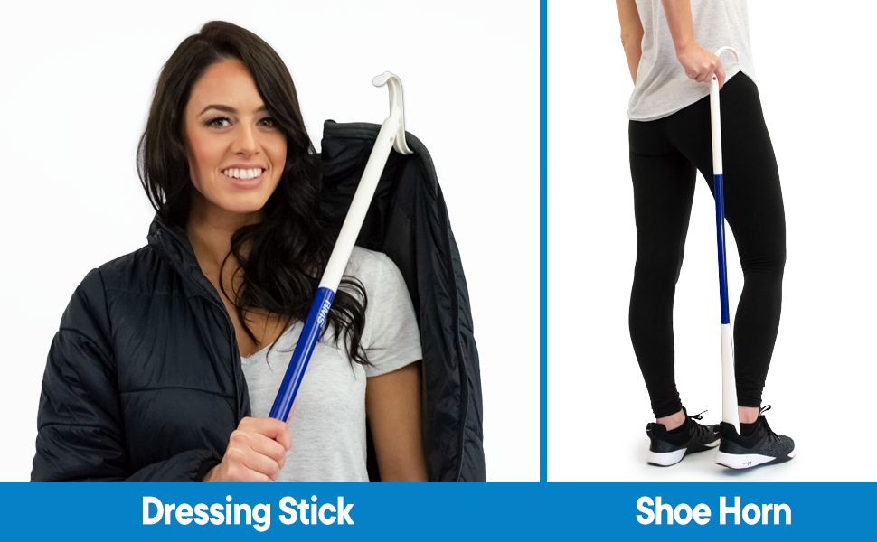Woman using dressing stick for coat and shoe horn for shoes