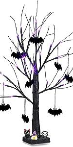 Halloween Tree with Purple Lights and Bat Decoration