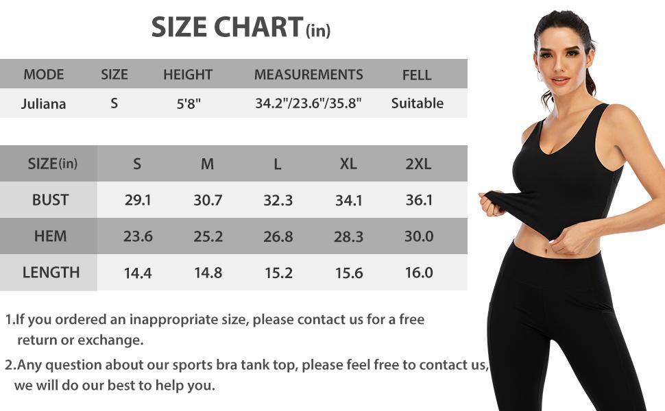 sports bra chart