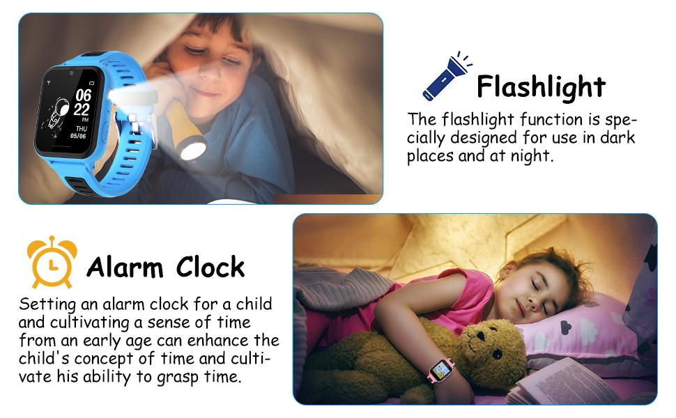 Flashlight and alarm clock function of smart watch