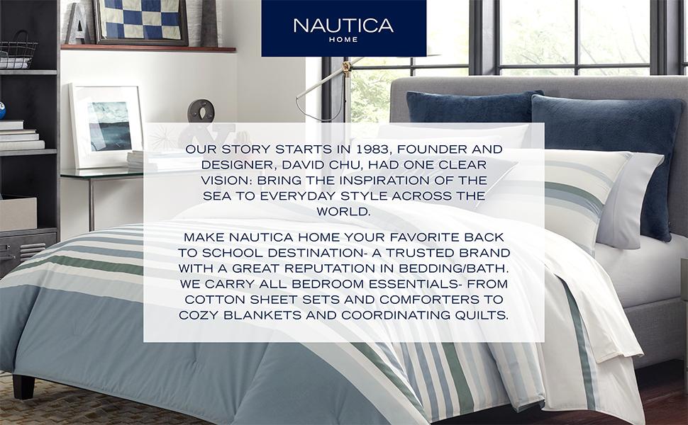 Nautica Home, Bedding Set, Sets, Comforter, Decor, Collection, Throw Pillow, Sheet, Full, Queen,