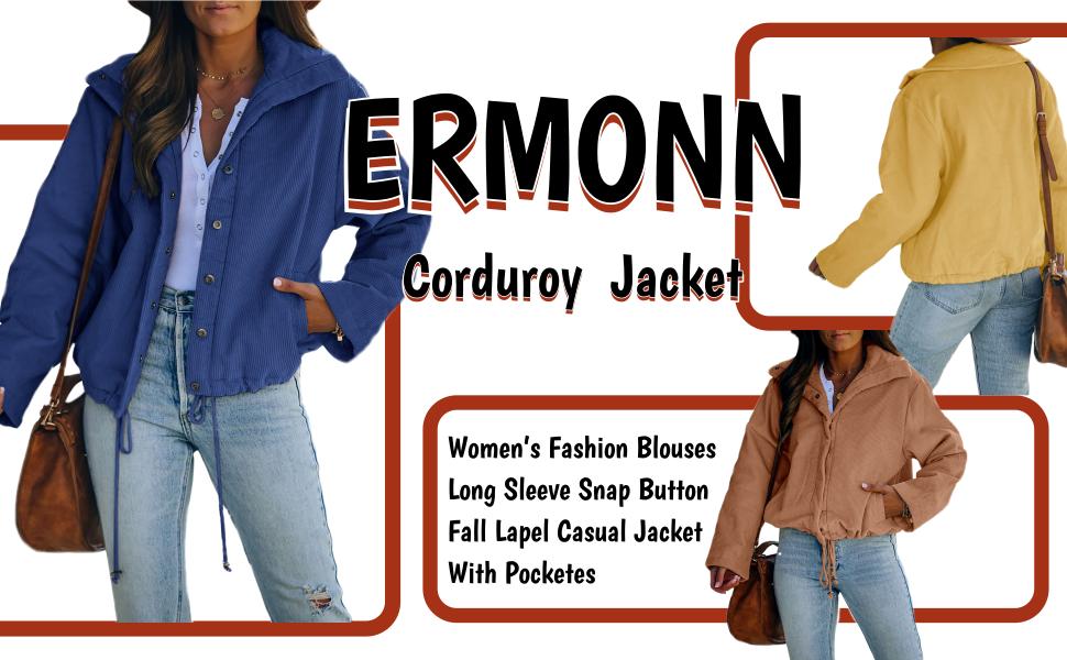 ERMONN Women's Fashion Corduroy Jacket