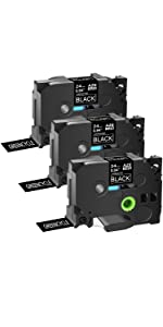 3 pack compatible for brother ptouch label maker tape 24mm 0.94 black